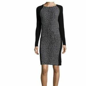 Hayden black & grey cheetah print cashmere dress